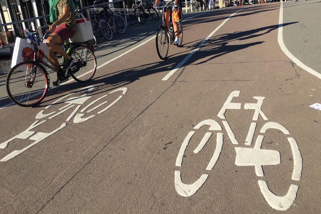 Amsterdam protected bike lanes
